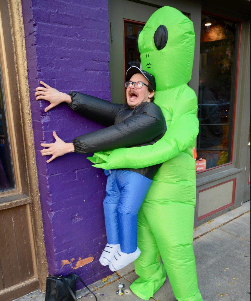 Syracuse Halloween Bar Crawl: Alian Abduction costume