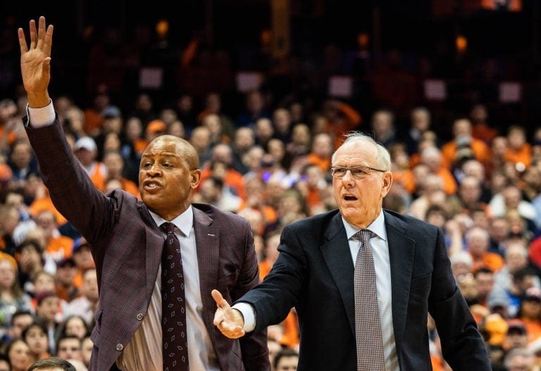 SU associate head coach Adrian Autry joins head coach Jim Boeheim in challenging a referee's call during the SU-Duke on Feb. 23, 2019 in the Carrier Dome.