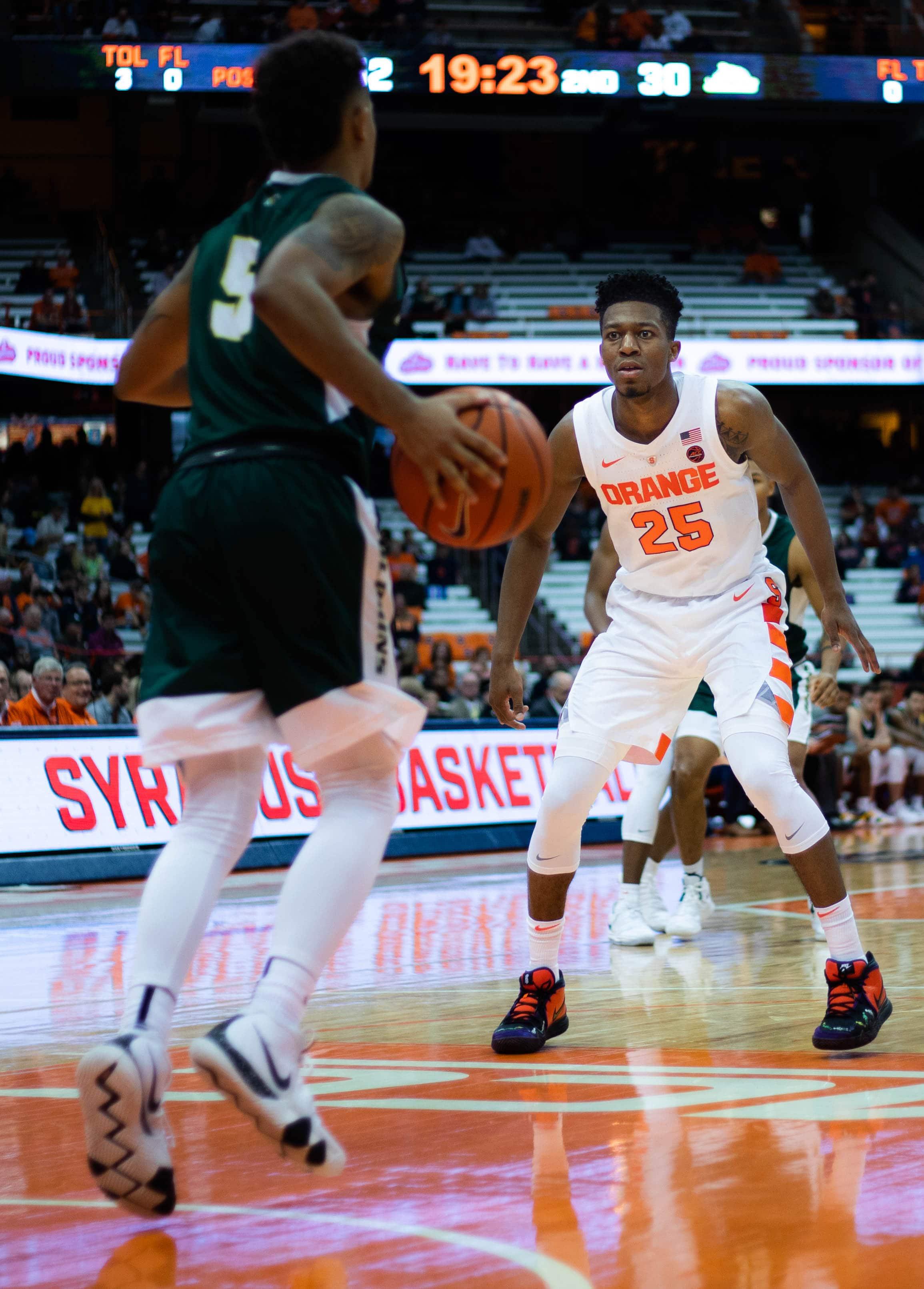 Syracuse's Tyus Battle defends Le Moyne's Malik Garner