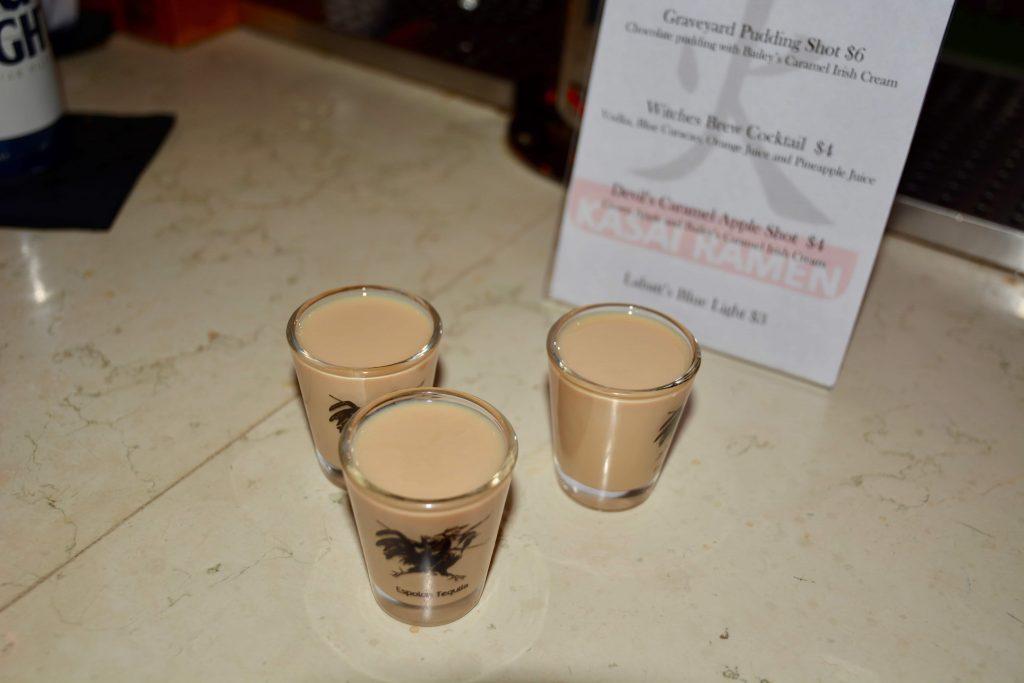 Syracuse Halloween Bar Crawl: The Devil's Caramel Apple shot at Kasai Ramen