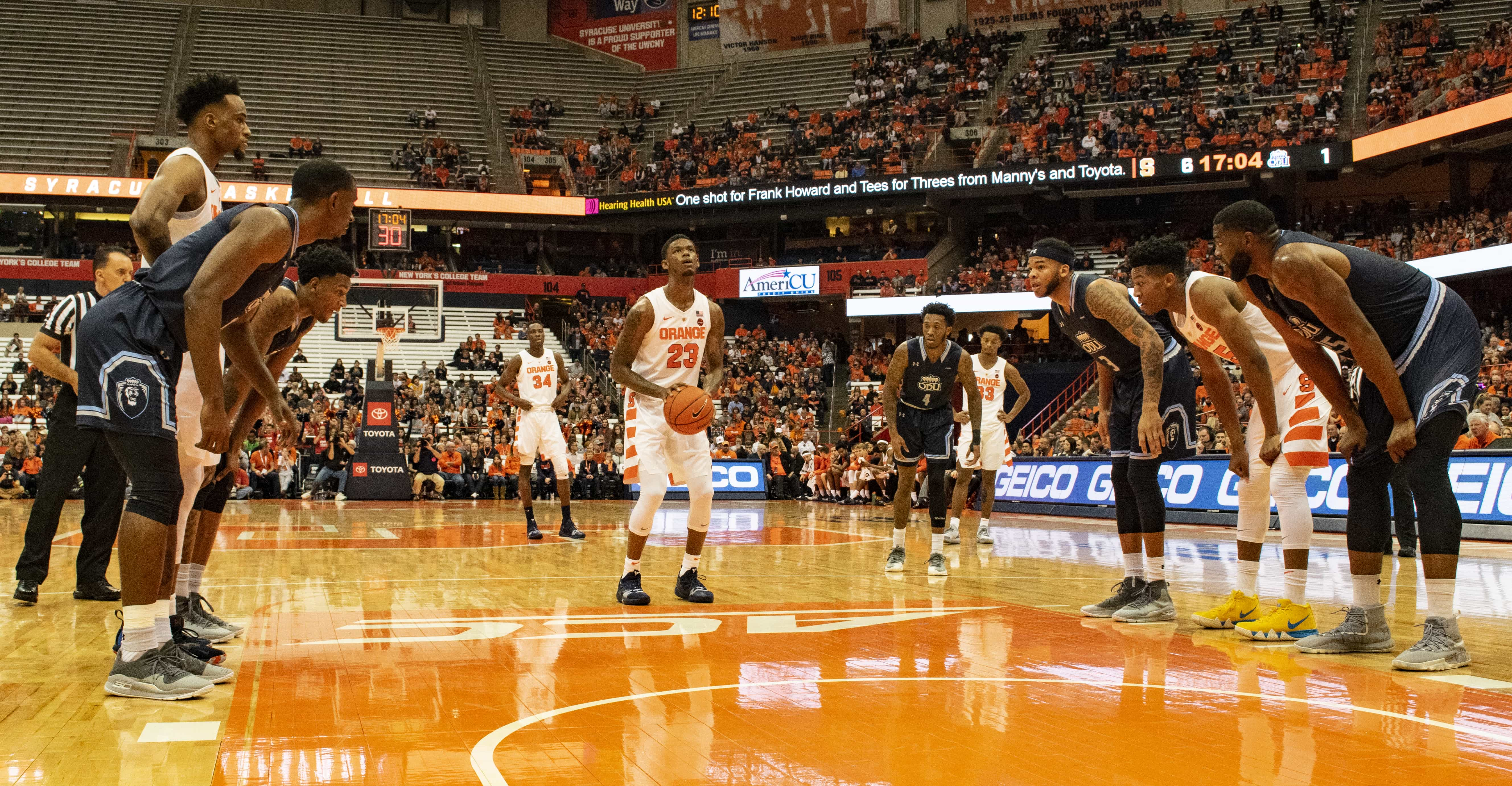 Frank Howard shoots a free throw during SU's loss to Old Dominion on Dec. 15, 2018, at the Carrier Dome.