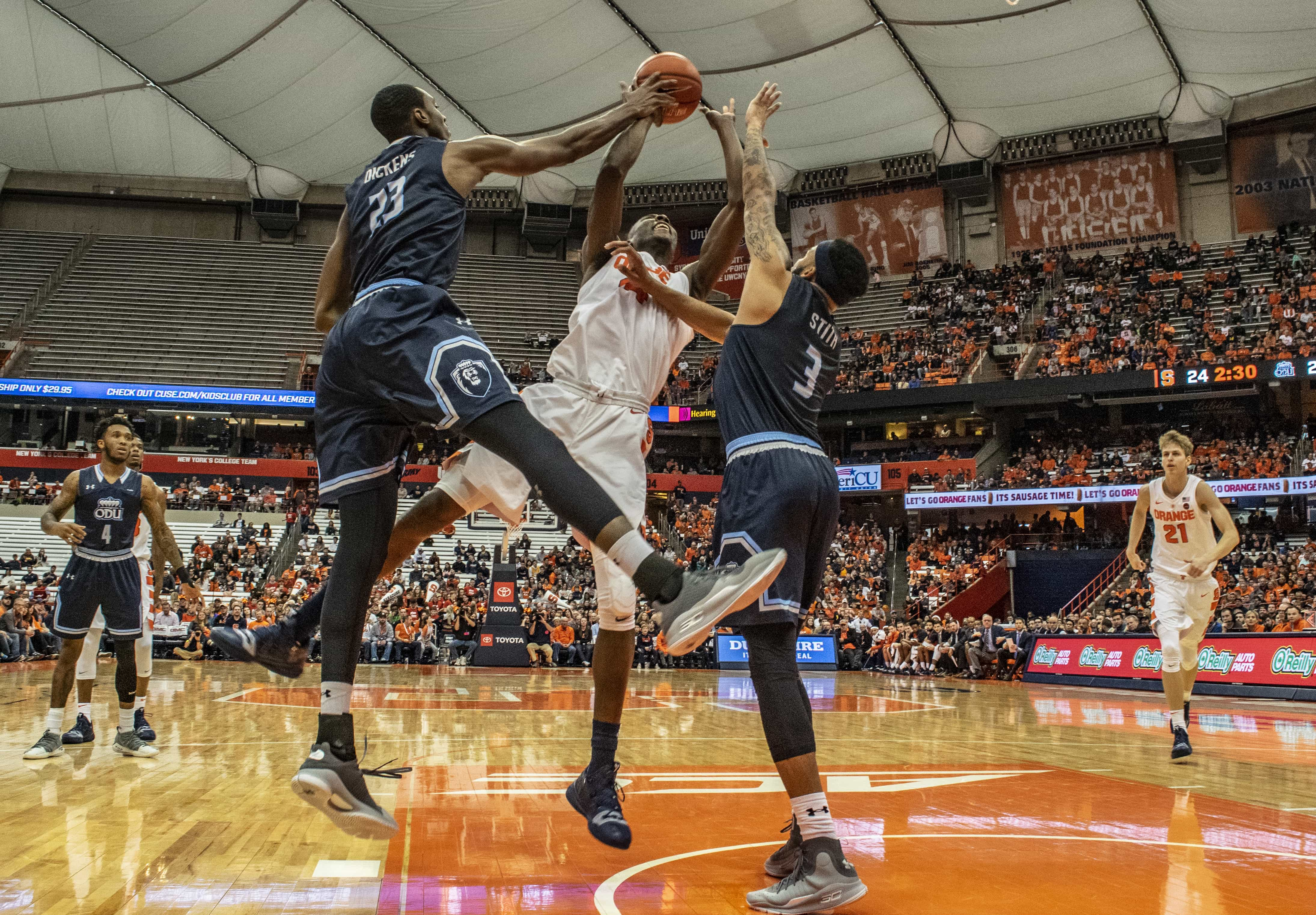 Bourama Sidibe gets blocked as he goes for up a shot during SU's loss to Old Dominion on Dec. 15, 2018, at the Carrier Dome. Sidibe ended the game without scoring.