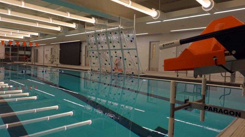 Climbing wall over pool