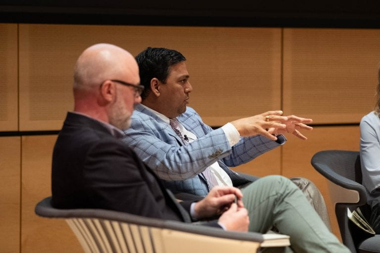 SUNY-Oswego Prof. Arvind Diddi discusses social media's impact on the 2018 midterm elections during the Social Media & Democracy panel on Wednesday.