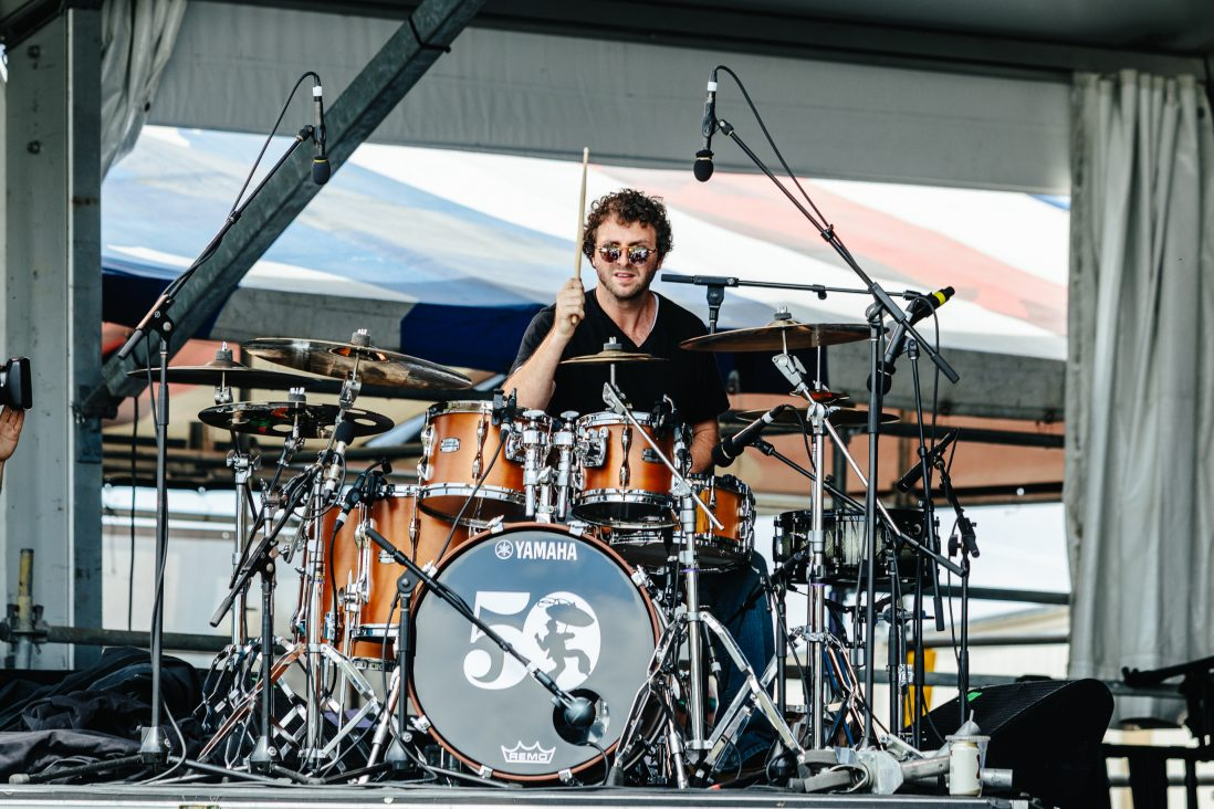 Sam Shahin playing the drums.