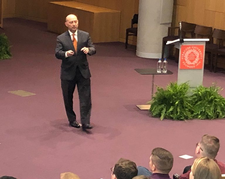 Admiral James Stavridis speaks at the Syracuse University College of Law.