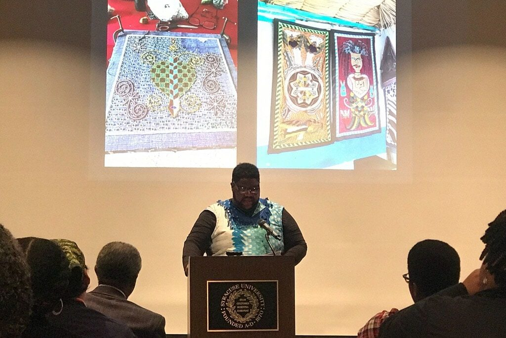 Eric Prichard delivers his lecture in celebration of Black History Month at Syracuse University on Feb. 13, 2019.