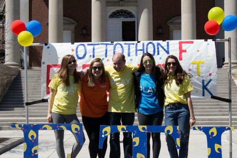 Andrew Benbenek joins fellow OttoTHON organizers to promote the dance marathon fundraiser.