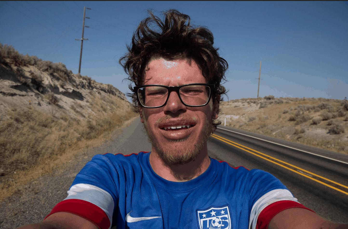 Selfie taken by Pershing on his trek