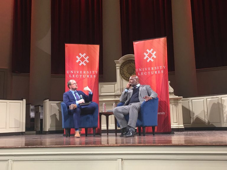 New Yorker writer Jelani Cobb (right) speaks to SU history associate professor Jeffery Gonda during Cobb's University Lectures talk on Feb. 11 at Hendricks Chapel