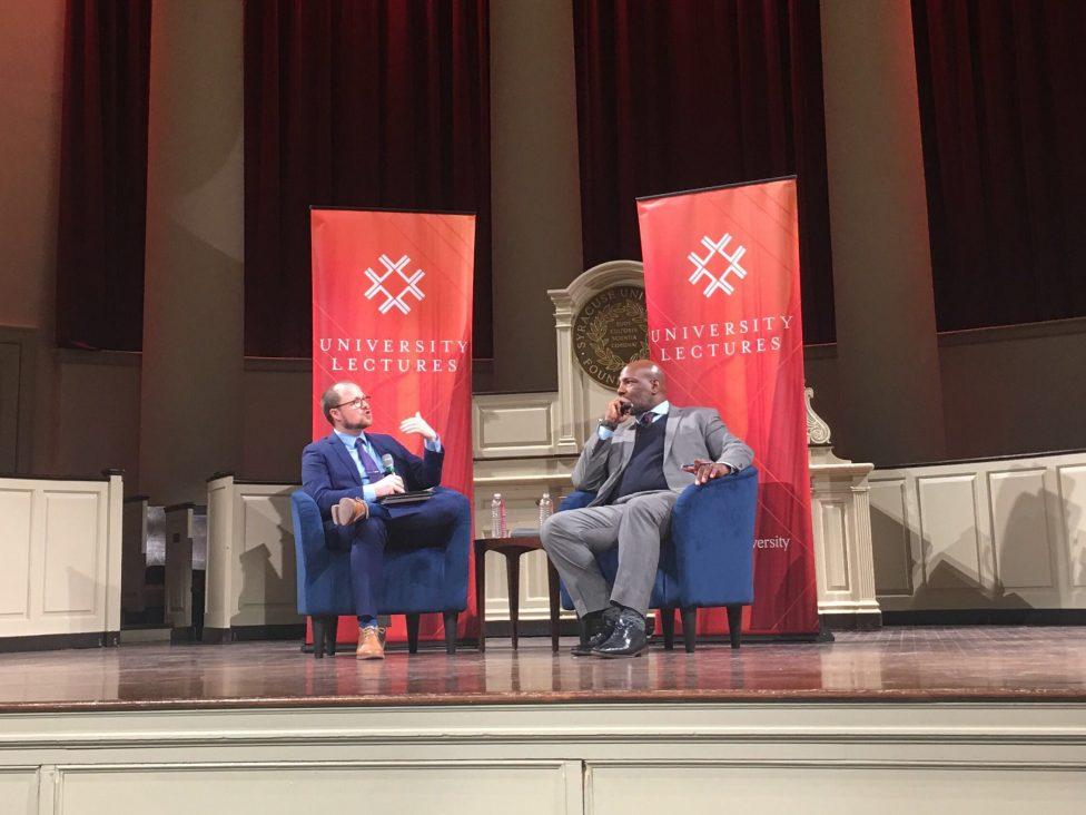 New Yorker writer Jelani Cobb (right) speaks to SU history associate professor Jeffery Gonda during Cobb's University Lectures talk on Feb. 11 at Hendricks Chapel