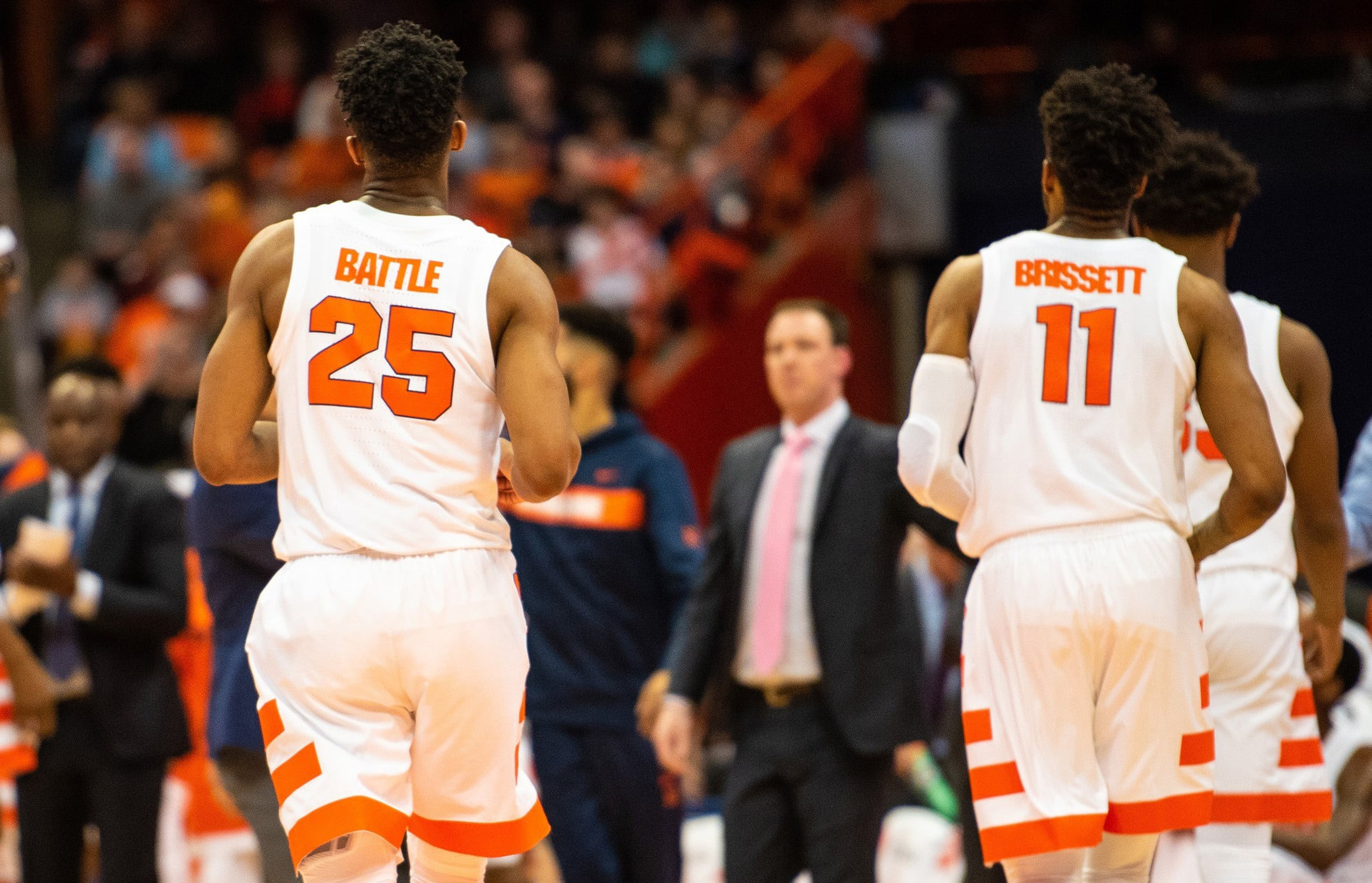 Tyus Battle (left), and Oshae Brissett jog off the court during a timeout. FSU beat SU 80-62.