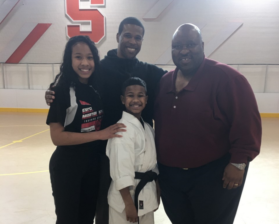 Martial Arts expert El-Java Abdul-Qadir gave a demo to students with the assistance of his children.