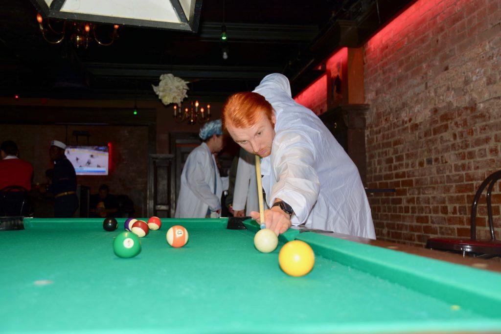 Syracuse Halloween Bar Crawl: Playing pool at the Penny Pub