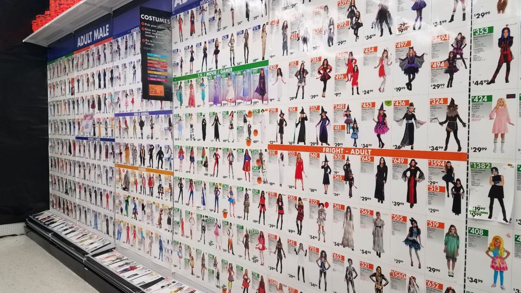 Party City costume wall