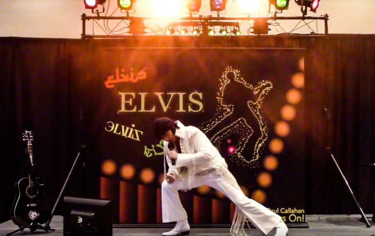 Elvis impersonator Michael Paul Callahan of Oswego.