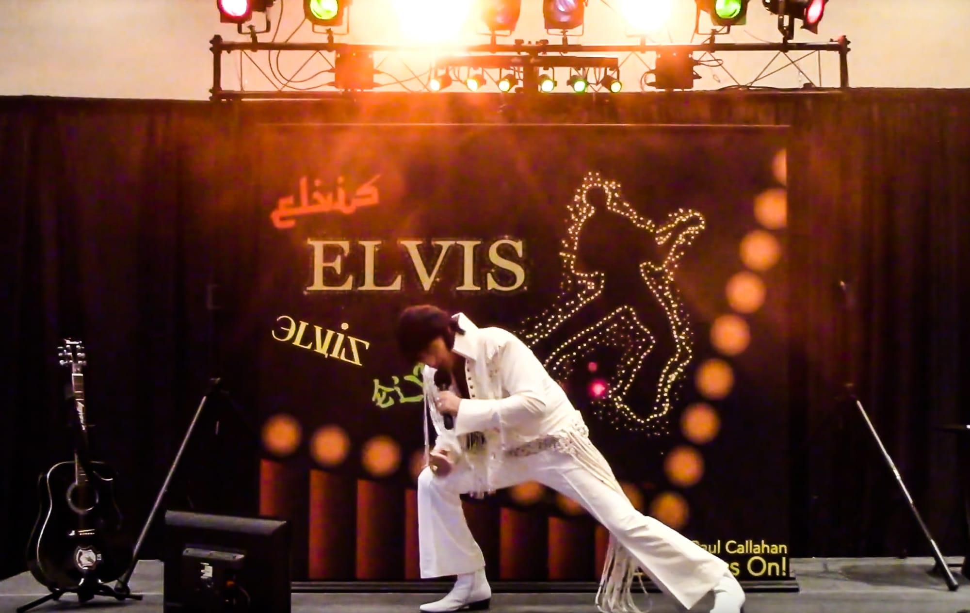 Elvis impersonator Michael Paul Callahan of Oswego.