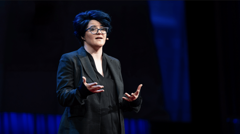 "Emily Nagoski speaks at TED 2018 lecture ""The truth about unwanted arousal."""
