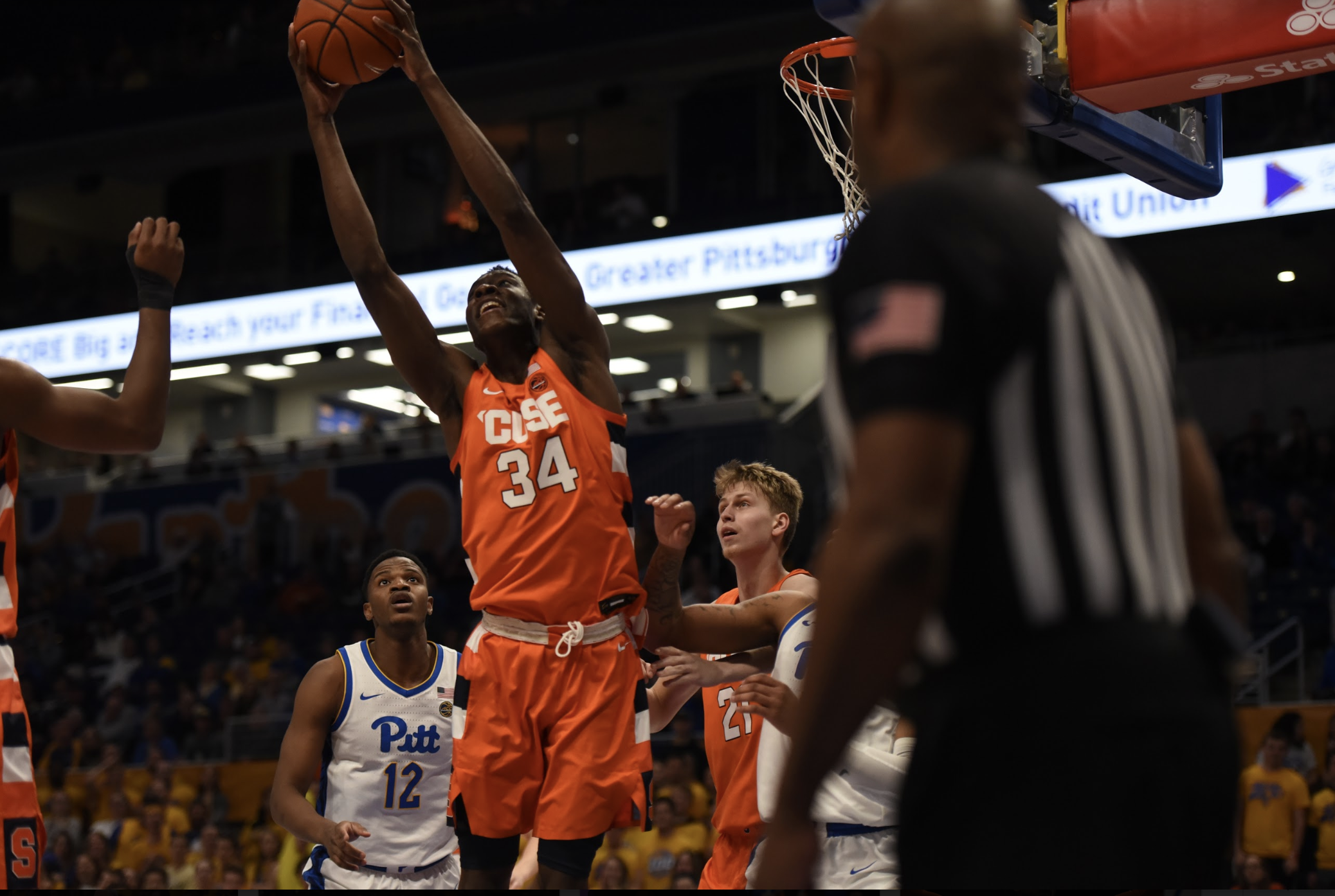 Bourama Sidibe soars for one of his 10 rebounds vs. Pitt on Wednesday, Feb. 26, 2020.