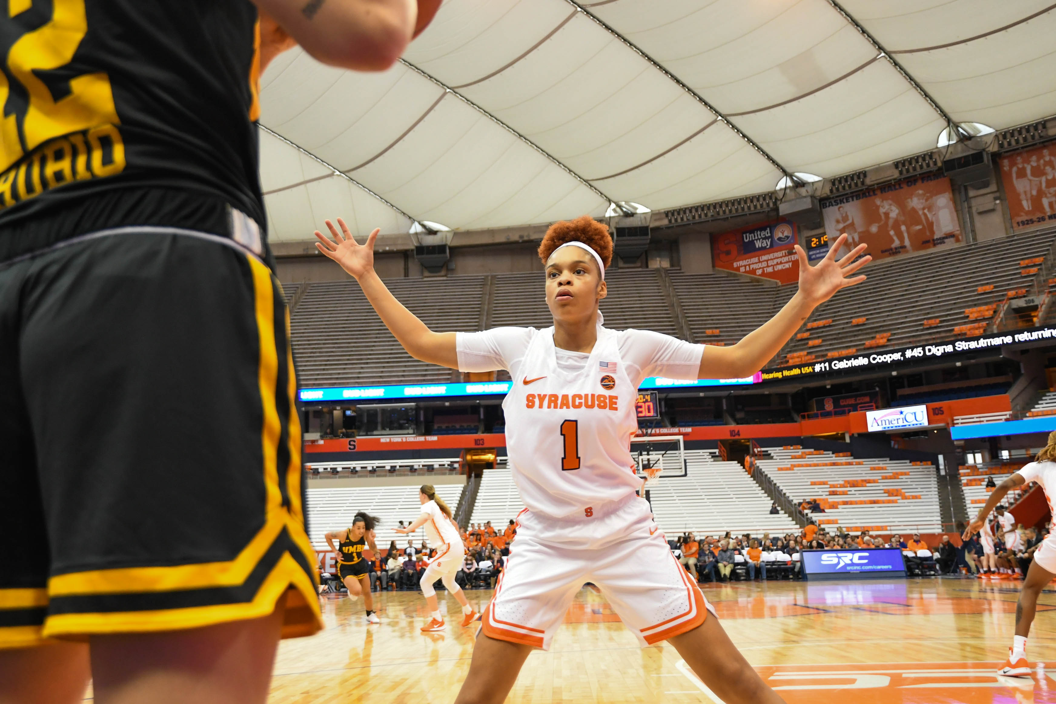 Taliah Washington guards an inbounder, part of the Orange's full court press.
