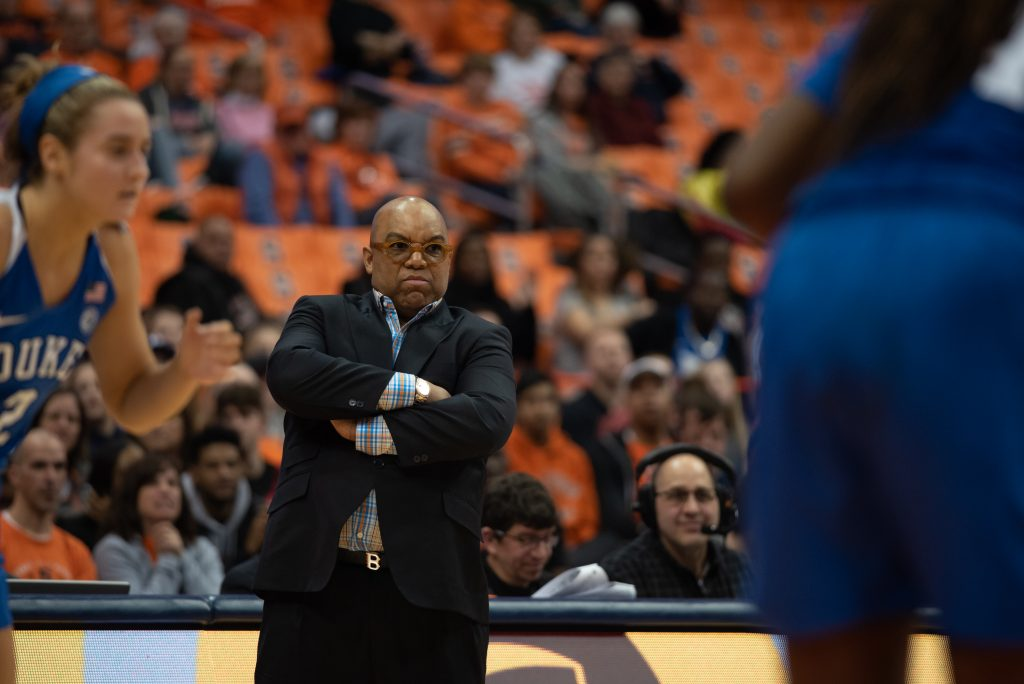Syracuse Orange Head Coach Quentin HIllsman displays frustration as the Blue Devils take an early lead an maintain a strong defense into the third quarter.