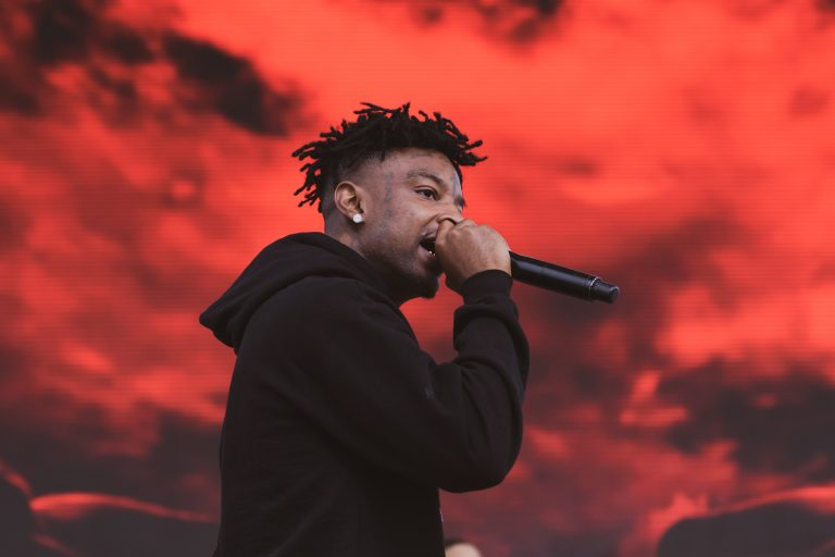 21 Savage performs at the annual fall Juice Jam at Skytop Field on Sunday.