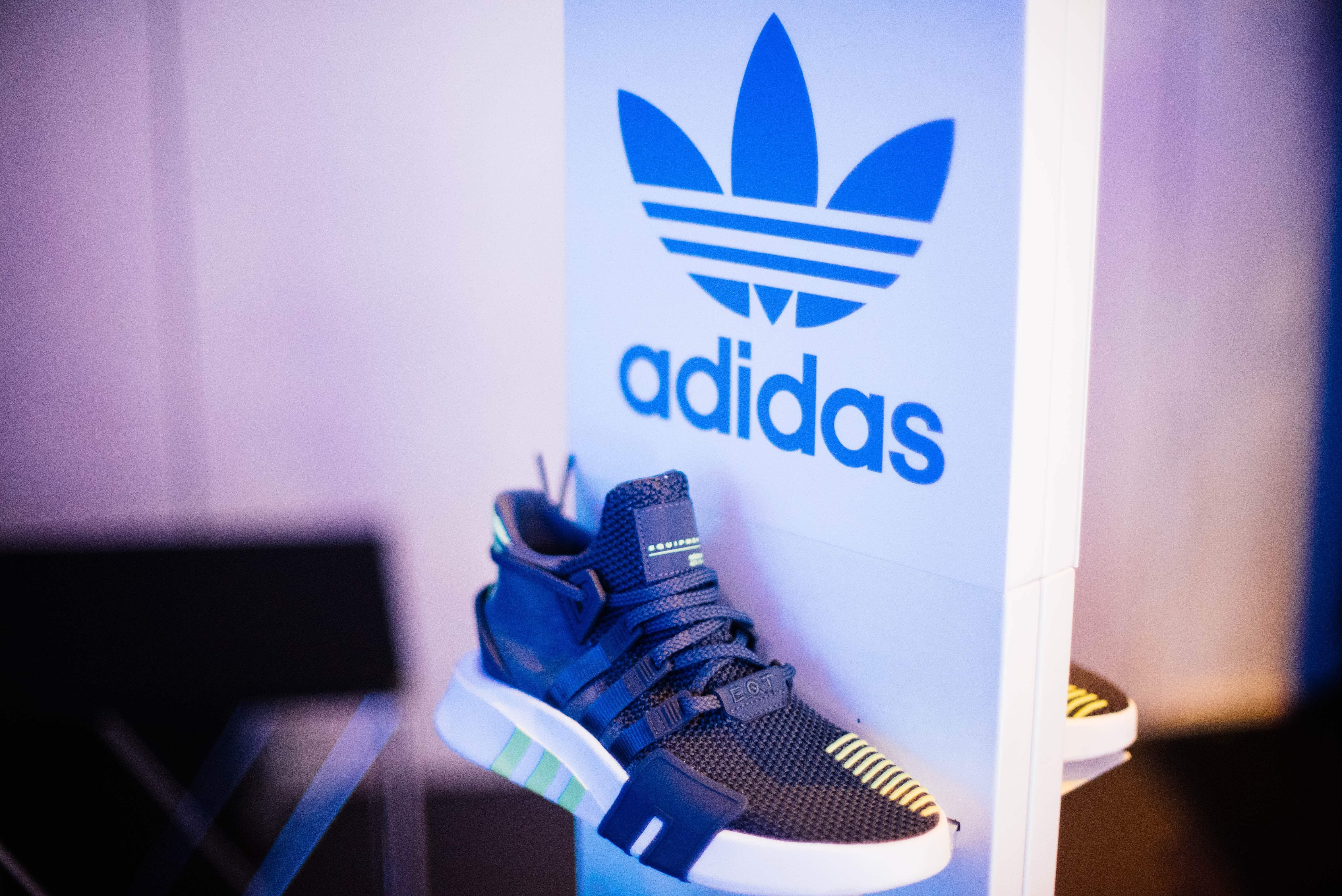 Adidas store display of sneakers