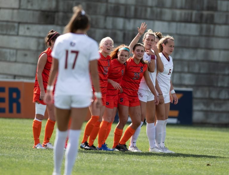 Members of the SU and FSU teams line up for a penalty kick during the Sept. 29, 2019, game at Syracuse Soccer Stadium
