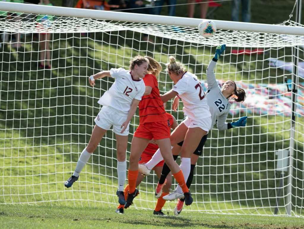SU goalie Lysianne Proulx (22) makes a save during the Sept 29 game vs FSU.