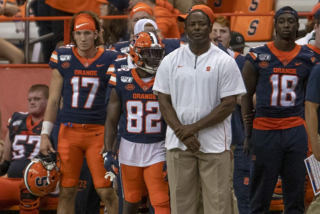 Dino Babers watches from the sideline.