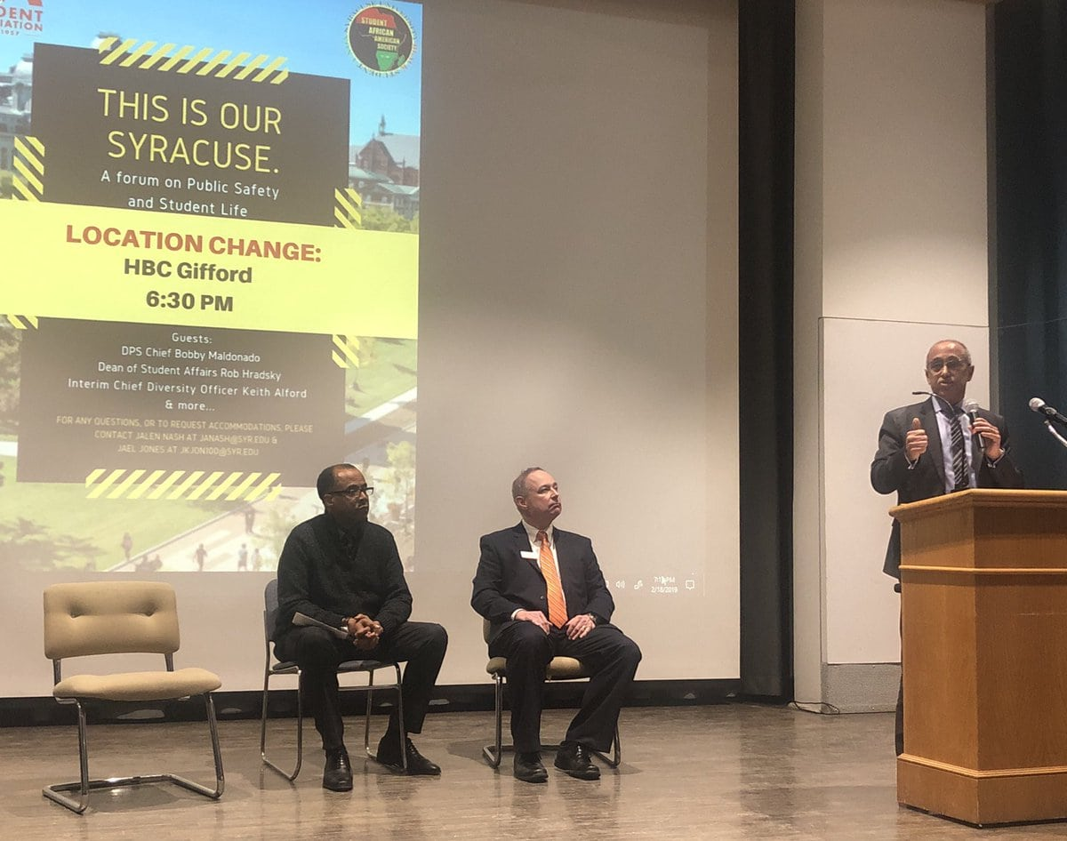 "Department of Public Safety chief Bobby Maldonado addresses students at Monday's ""This is our Syracuse"" forum"