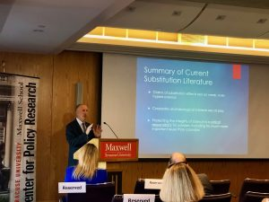 Keith Humphreys presents his take on marijuana legalization during the 31st Herbert Lourie Memorial Lecture on Health Policy on Sept. 5, 2019.