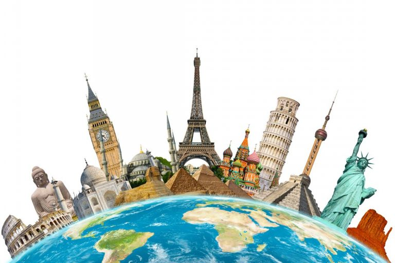 Landmarks placed on top of a globe.