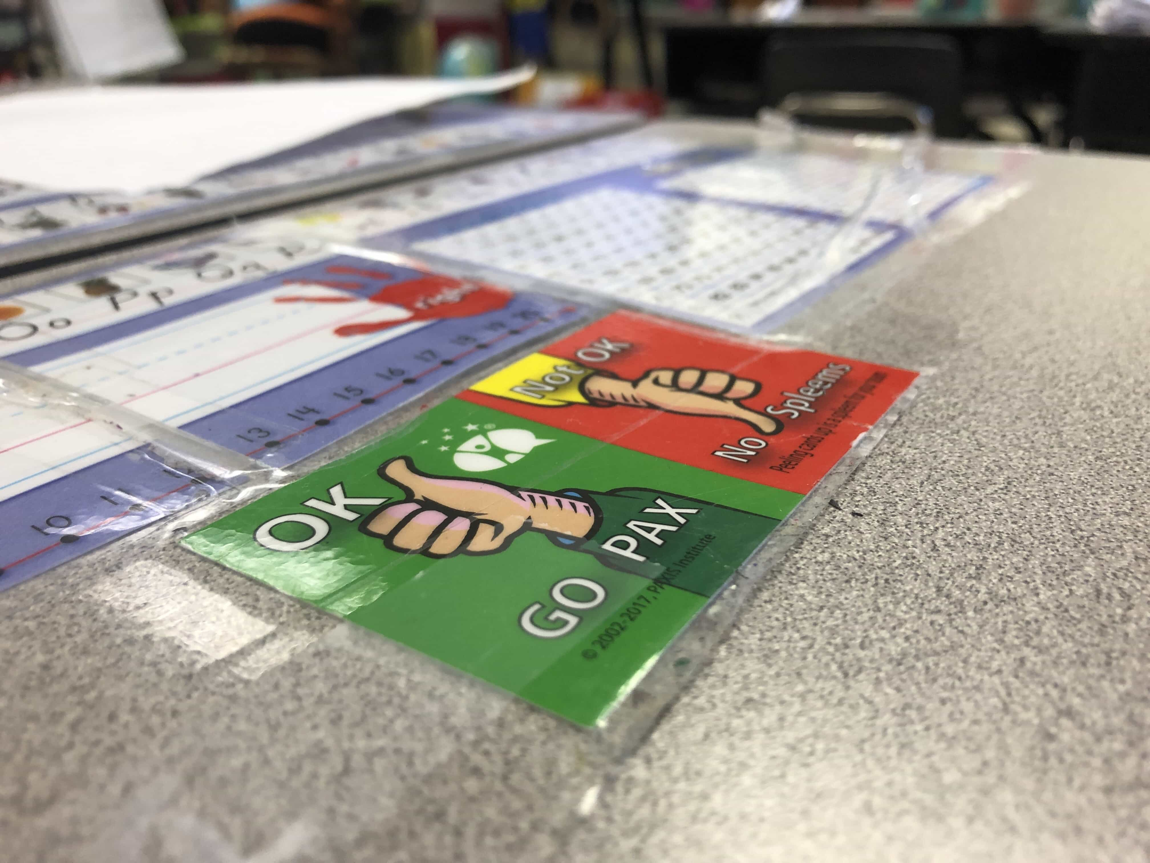 A student's desk at Dr. King Elementary School in Syracuse, NY, where restorative behavioral methods are being implemented.