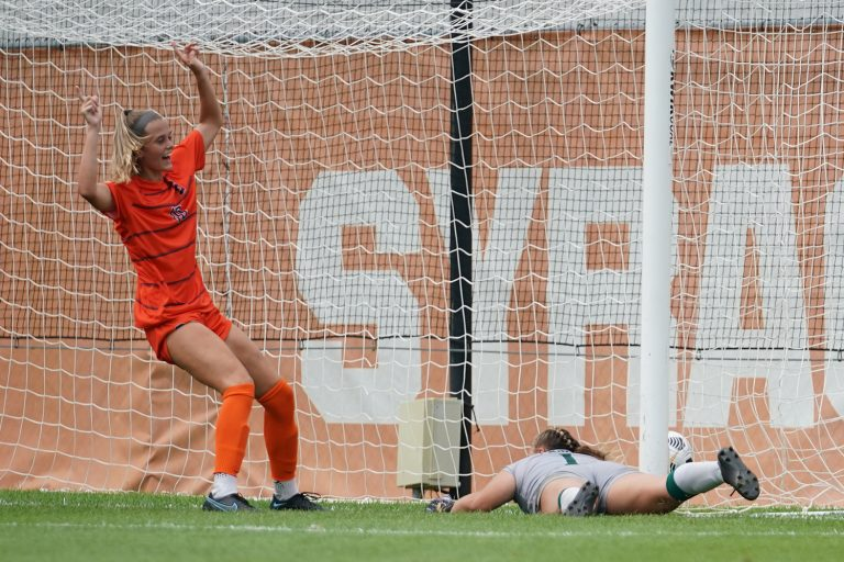 Syracuse's Hannah Pilley celebrates after her second half goal in the come from behind win over Eastern Michigan University on Sunday.