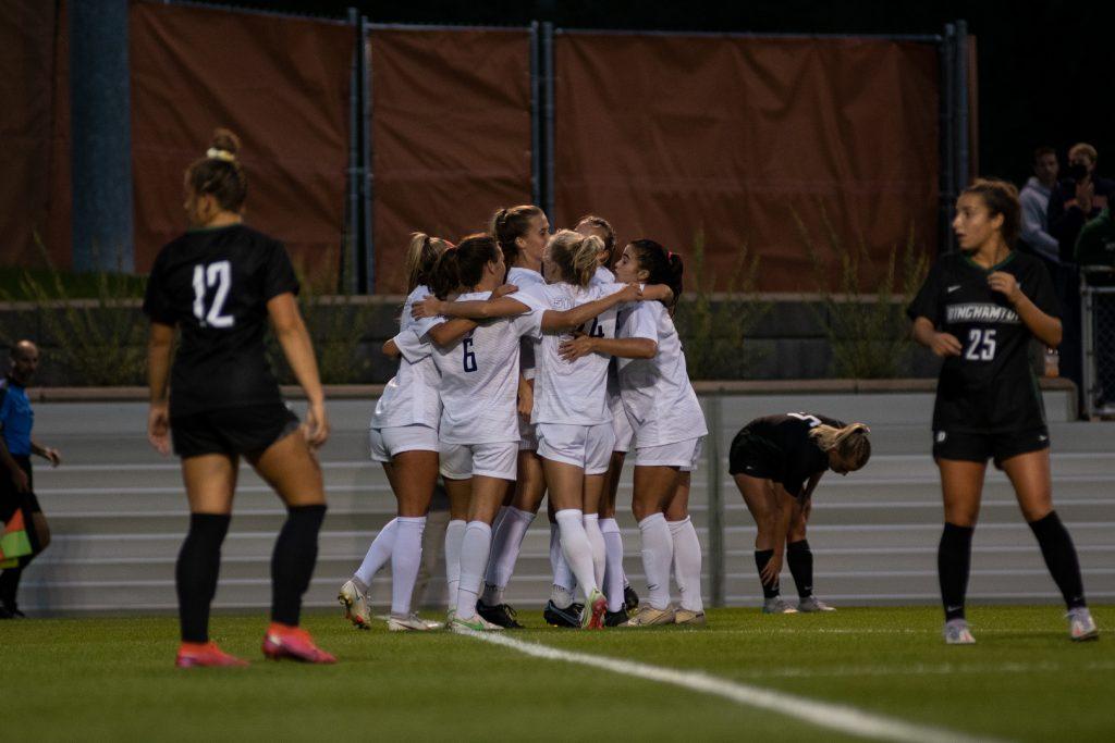 Syracuse Women's Soccer team celebrates in their only goal in their win versus Binghampton on September 2nd, 2021.