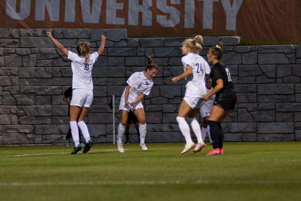 Syracuse Women's Soccer Freshman Pauline Machtens celebrates her early goal on 9/2/21.