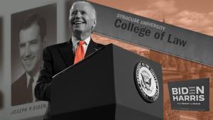 President Joe Biden will be Syracuse University's most famous alumnus. Biden graduated from SU's College of Law.