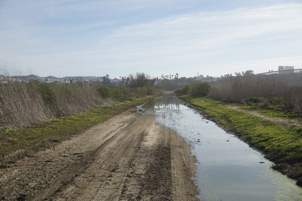 A flooded path leading to The Wall at Border Field State Park in the Tijuana River Valley.
