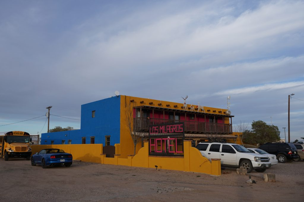 Los Milagros Hotel, one of two hotels in Columbus, New Mexico.