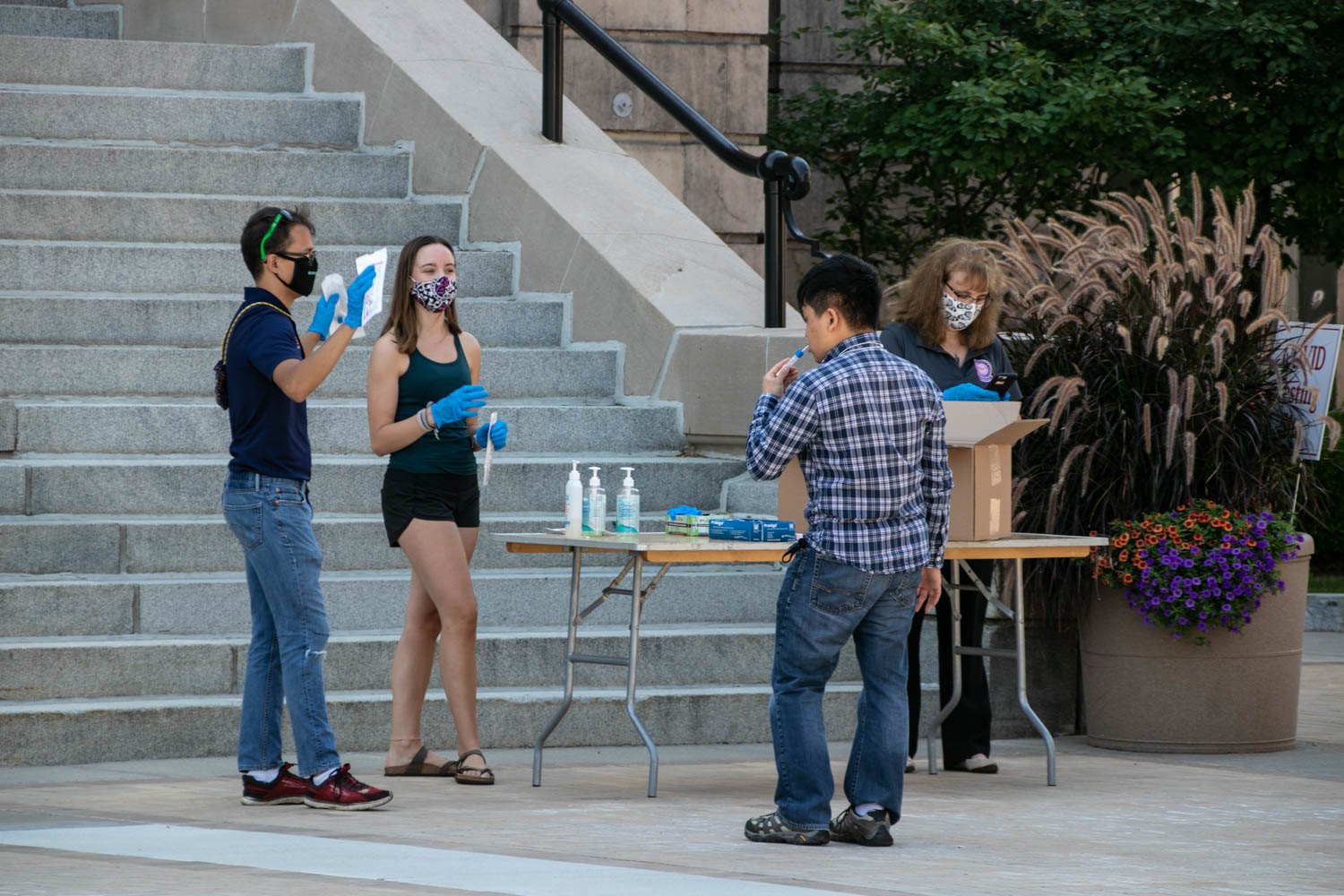 Students complete the second round of COVID testing on the Quad on Monday September 8th.