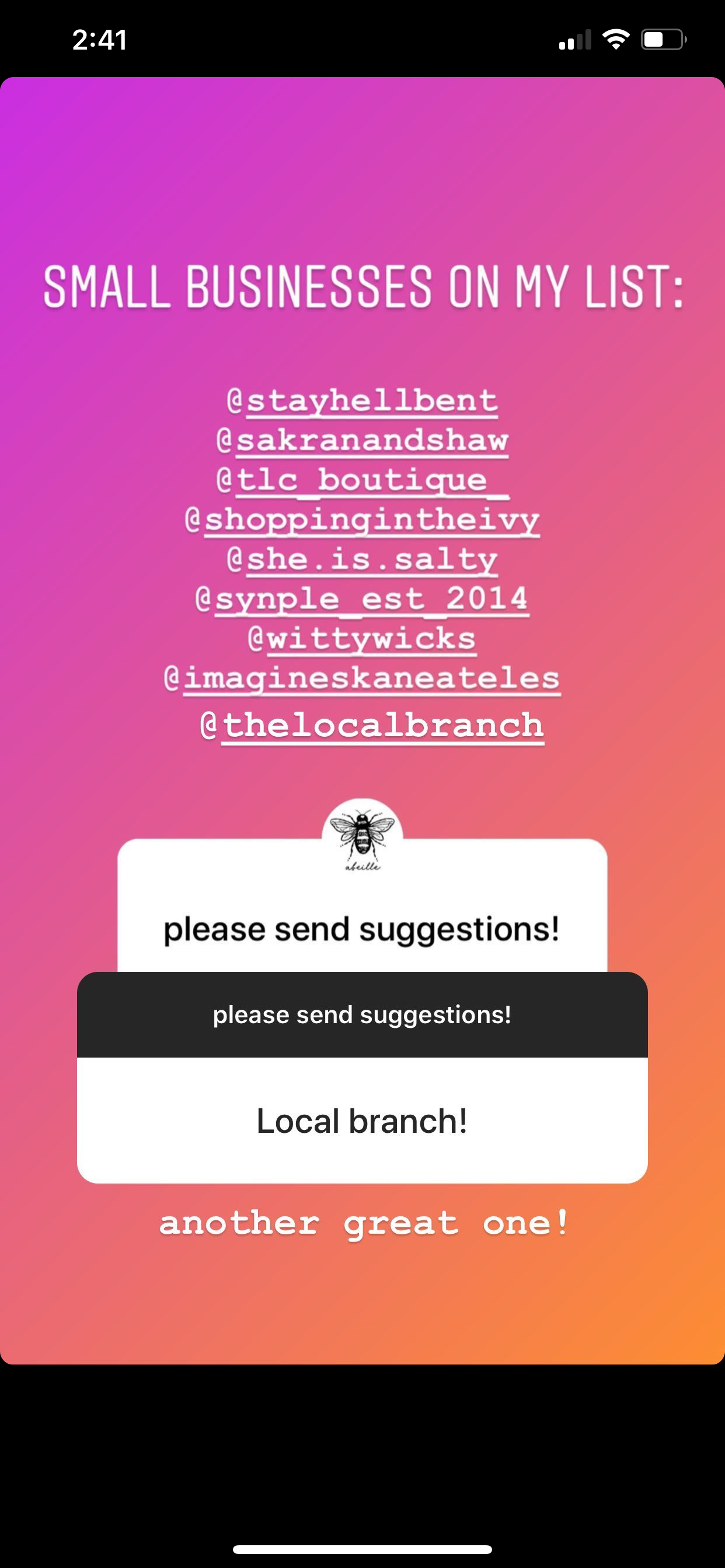 Abeille's Instagram story with giveback list