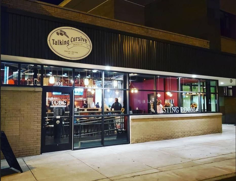 The front door and display of Talking Cursive Brewing Company