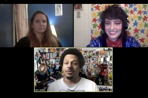 Eric Andre answered questions from SU and SUNY-ESF students via Zoom. Sarah Sherman (right) moderated the questions while Kelly Lann performed an American Sign Language interpretation.