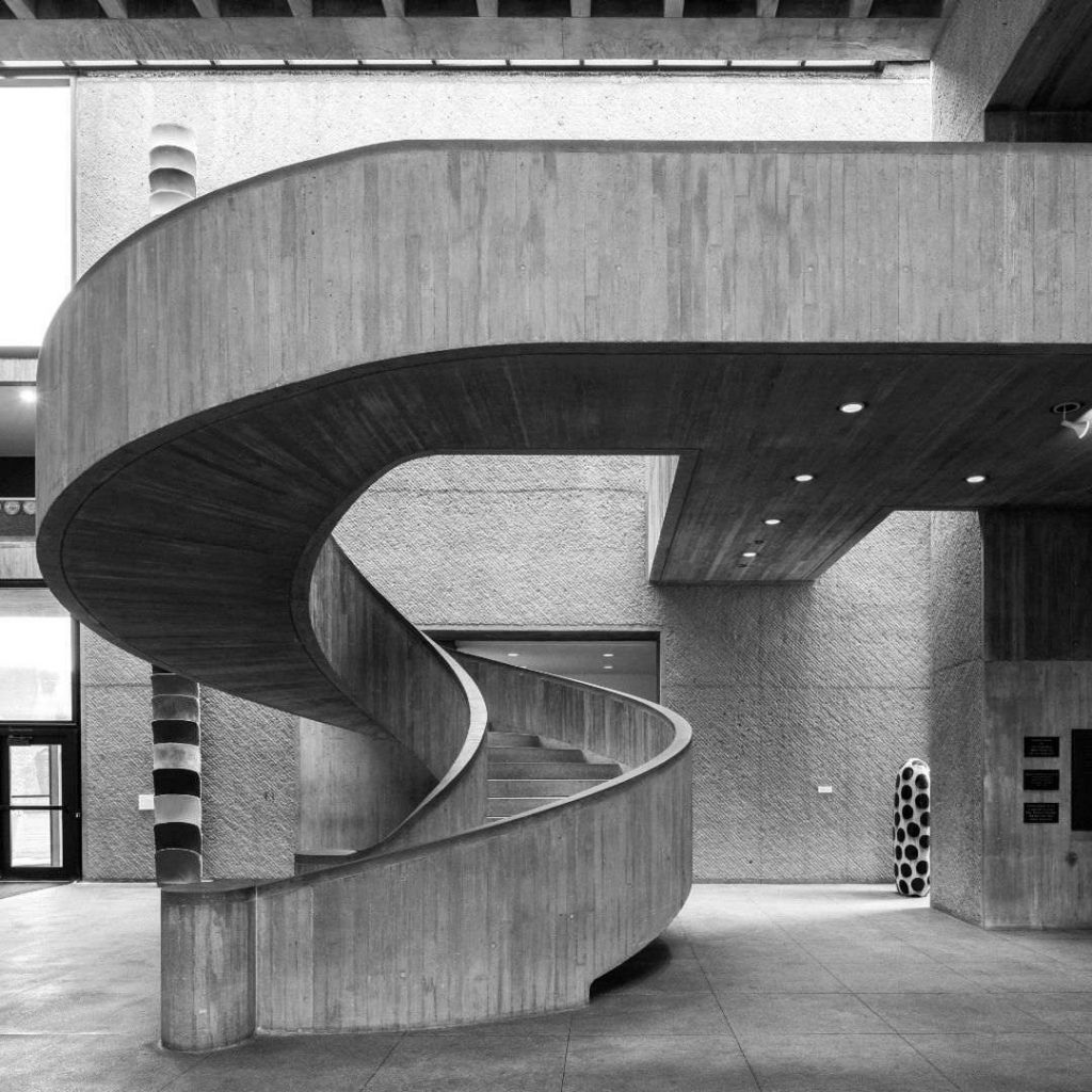 The main staircase at the Everson Museum of Art in downtown Syracuse.