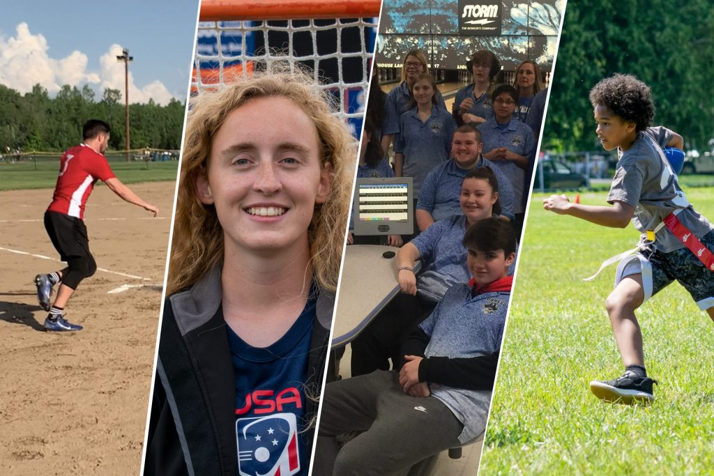 Photo collage from left of a man playing kickball, headshot of Bri Stahrr, group photo at a bowling alley and a boy playing football.