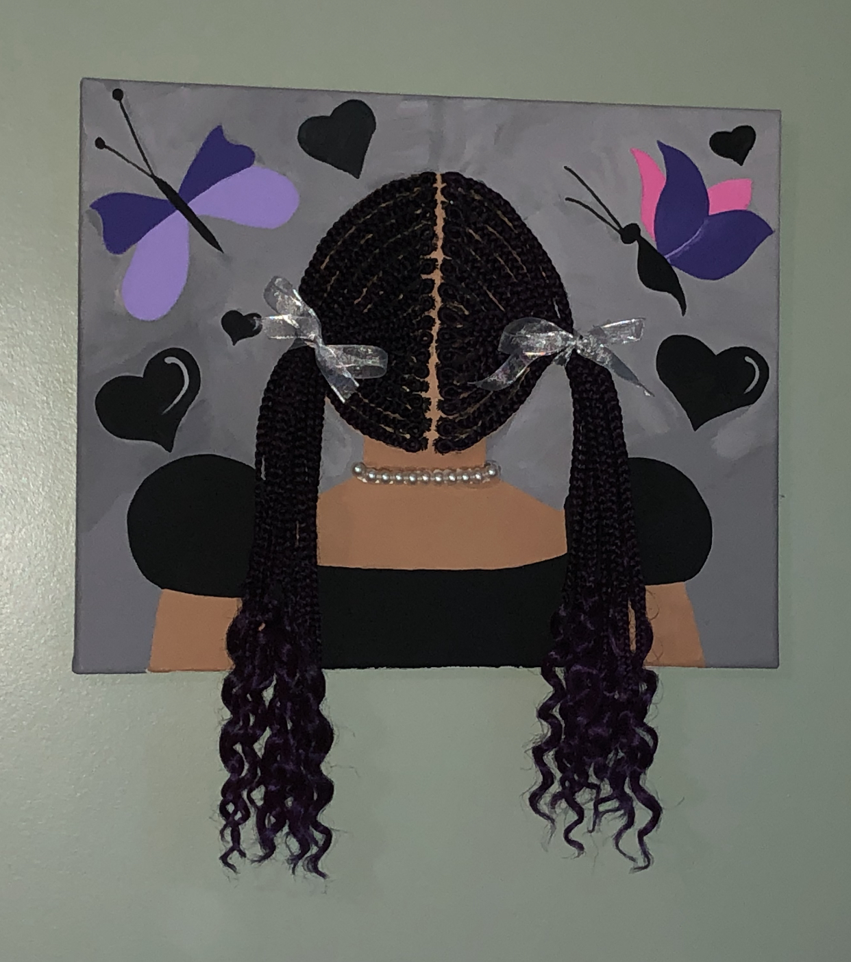 Paining of a girl with French braided pigtails in silver bow