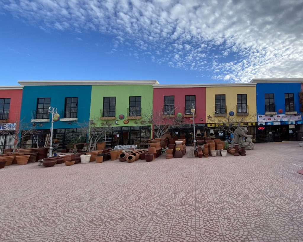 A vibrant stretch of Puerto Palomas shops that line an open-air patio two blocks from the U.S.-Mexico border.