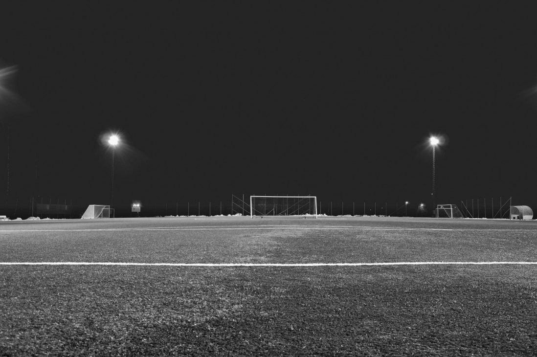 An empty soccer field. SU varsity athletes are turning to different measures to stay in shape for their respective sports.