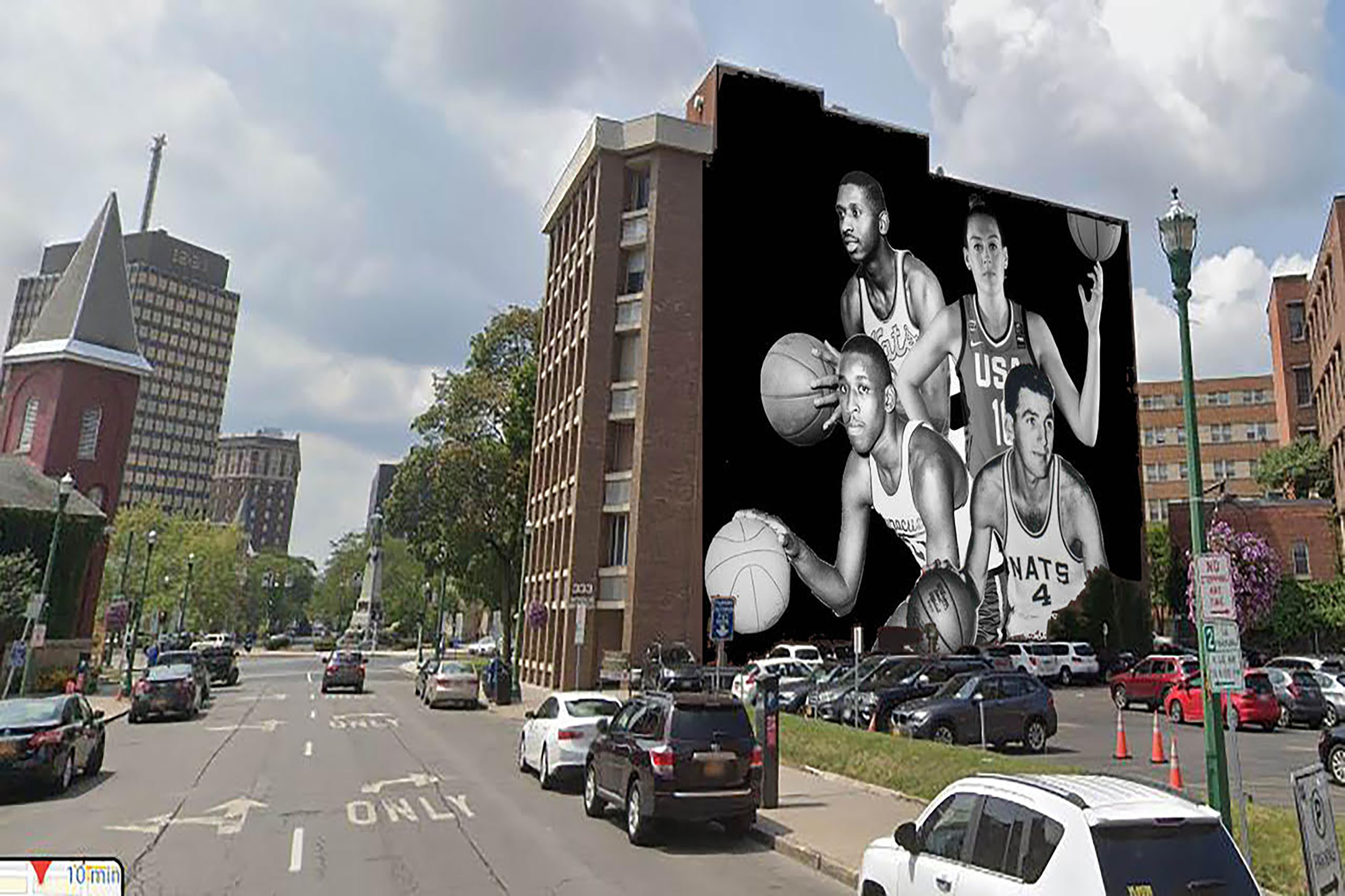 The Monroe Building on East Onondaga Street will serve as the canvas for this mural project, featuring four local athletes. Courtesy of Frank Malfitano/Jonas Never (Artist)